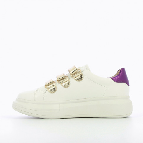 White sneakers with extra-large sole