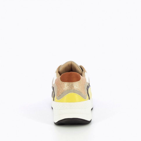 Camel and yellow sneakers with flame cutouts