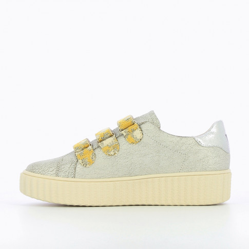 Gray lightning sneakers with yellow velcro