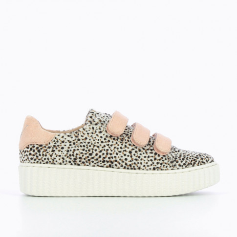 Cheetah and pink sneakers with creeper sole