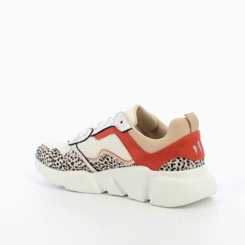 White mesh sneakers with leopard detailing