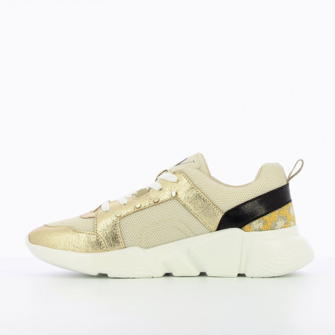 Beige mesh sneakers with gold and yellow detailing
