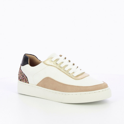 White and gold sneakers with glittery detailing
