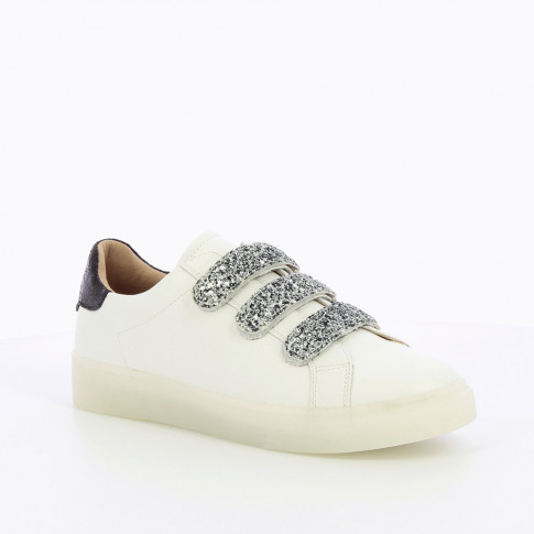 White sneakers with glittery velcro