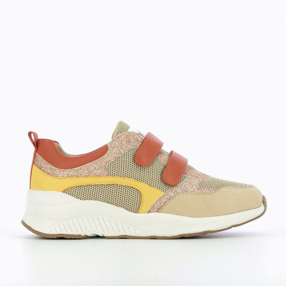 Multicoloured lightweight sneakers with terracotta velcro