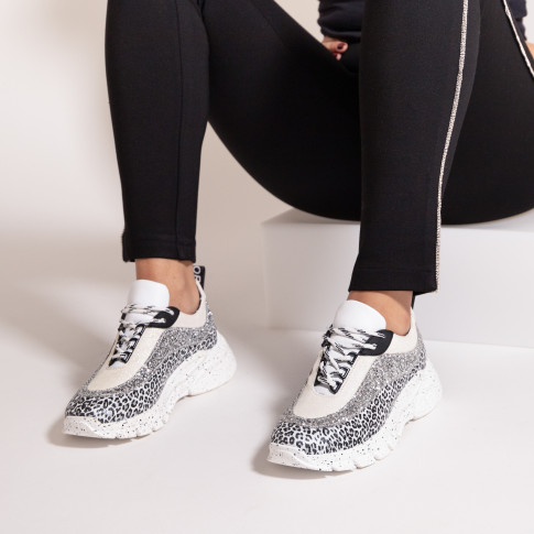Tri-material sneakers with galaxy sole