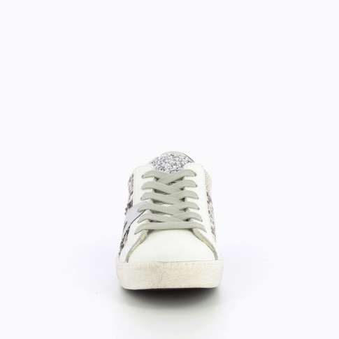 Snakeskin effect sneakers with silver stripe