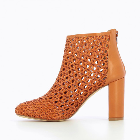 Camel openwork ankle boot with heel