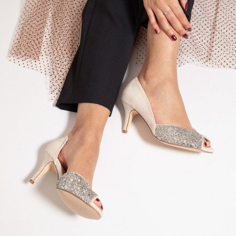 Cream and silver peep-toe pumps