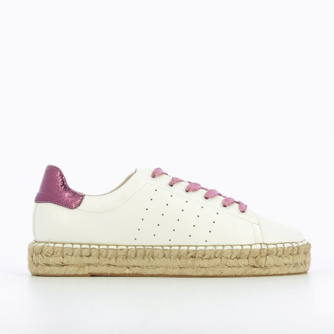 Baskets espadrilles blanches à lacets magenta brillant