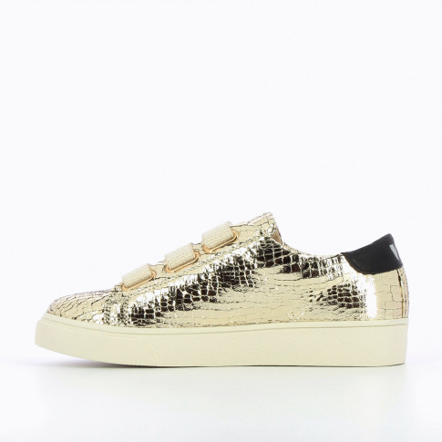 Gold crackled effect sneakers with tweed velcro