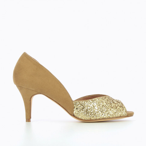 Camel and gold peep-toe pumps