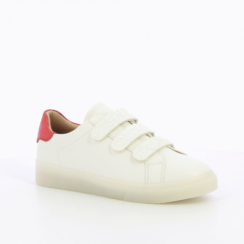 White sneakers with snow effect velcro