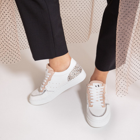 White sneakers with coloured detailing