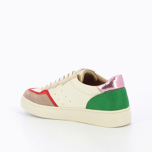 Off-white sneakers with multicoloured detailing