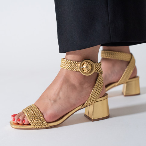 Gold braided sandal with heel