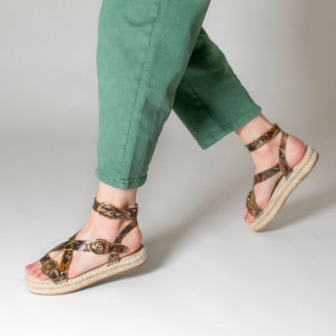Coffee-coloured snakeskin platform sandals