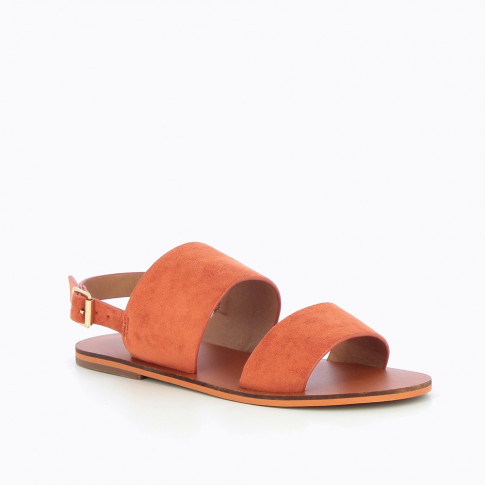 Brick-red suedette sandals with large straps