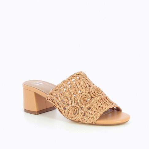 Peach braided raffia mules