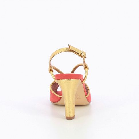 Coral sandals with gold bow-strap