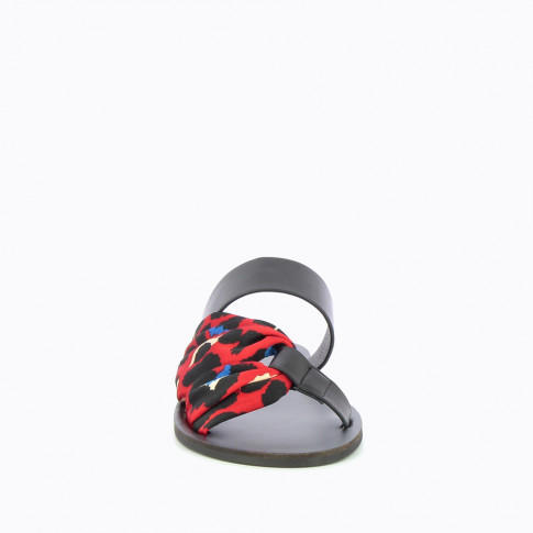 Black mules with red leopard-print scarf