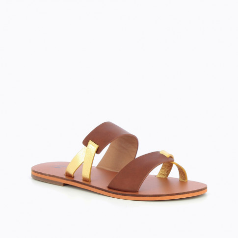Brown and gold mules