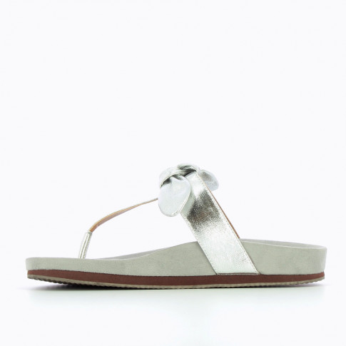Silver flip-flops with decorative bow