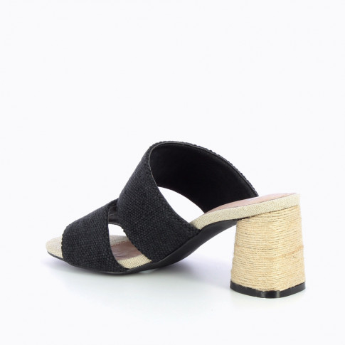 Black tweed effect mules with rope heel