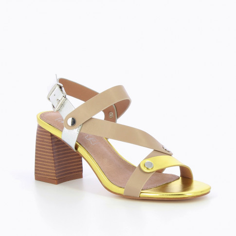 Yellow and taupe sandals with riveted straps