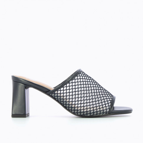 Mules with navy heel and net effect