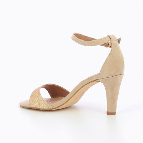 Beige sandals with heel and glittery strap