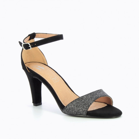 Black sandals with heel and glittery strap