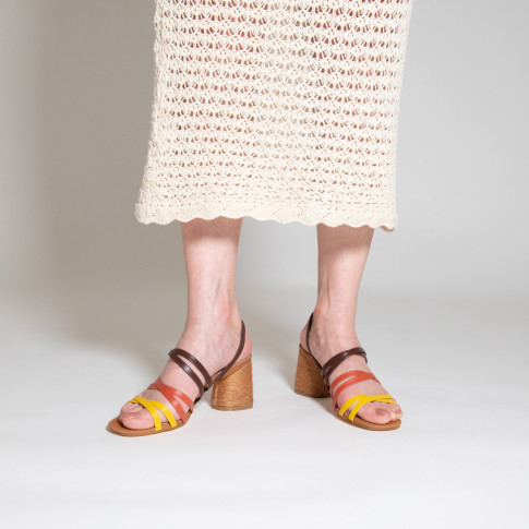 Brown multi-strap sandals with camel heel