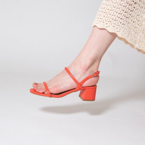 Coral minimalist sandals with heel