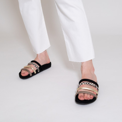 Black mules with multicoloured straps