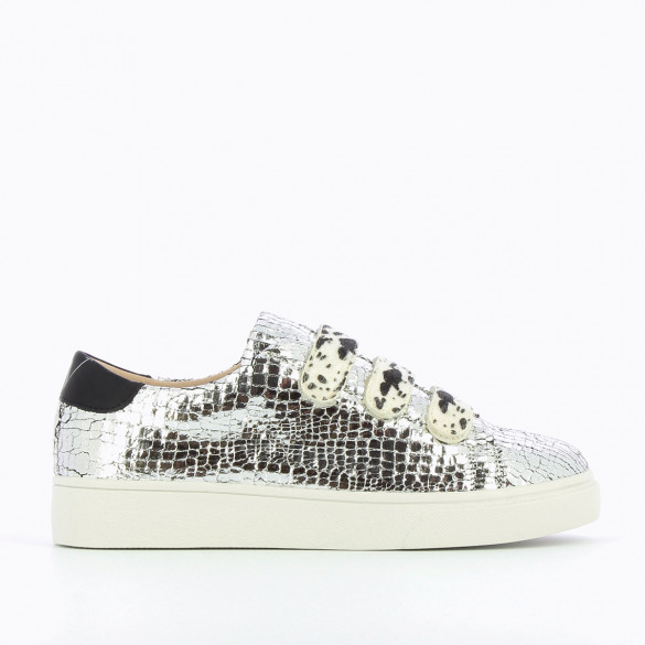 womens sneakers shiny crackled effect sneakers Vanessa Wu cow print velcro