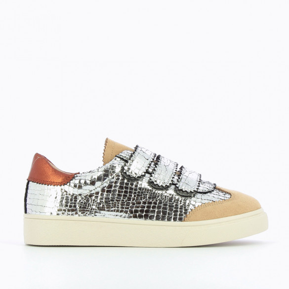 bi-material sneakers woman crackled effect silver and beige suedette velcro Vanessa Wu