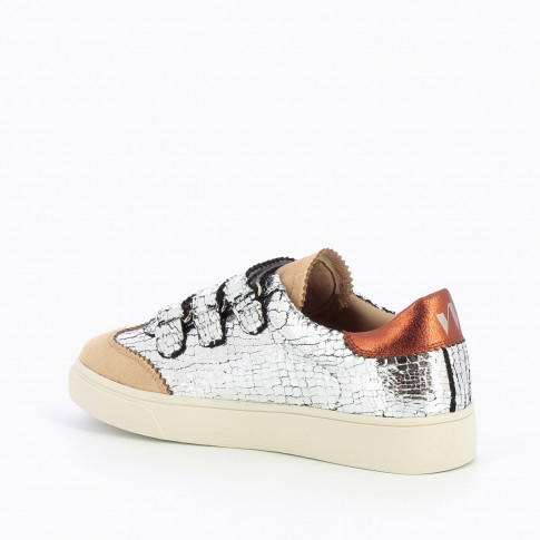 Silver crackled effect sneakers with iridescent orange details