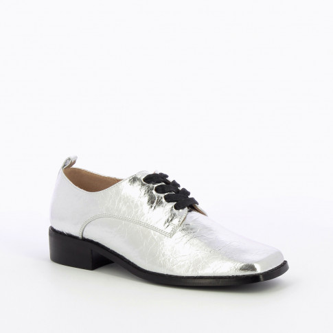 Silver square toed brogues