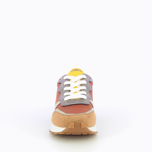 Orange sneakers with multi-material details