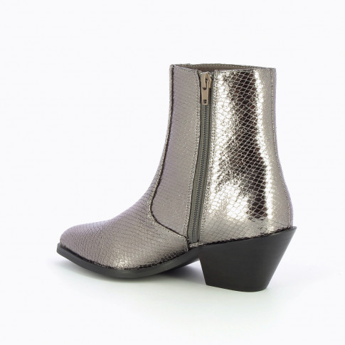 Charcoal snakeskin effect cowboy ankle boots