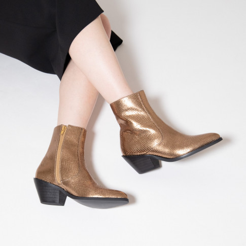 Bronze snakeskin effect cowboy ankle boots