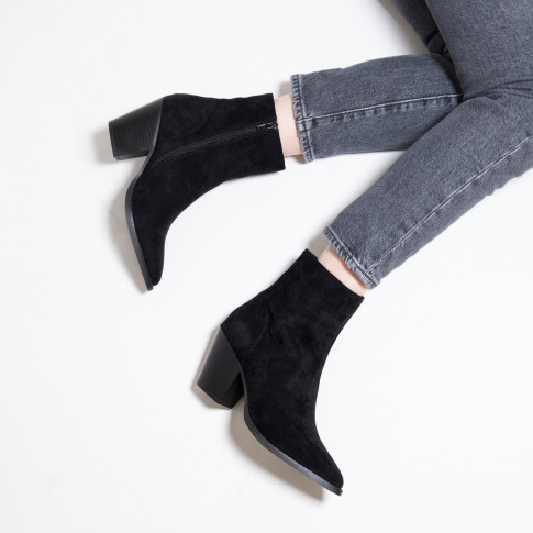 Black suedette ankle boots with heel