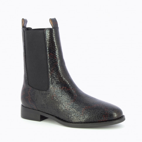 Black snakeskin effect Chelsea boots with high upper