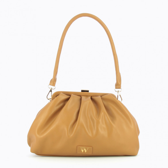 camel bag woman Vanessa Wu large pleated metallic gold clasp and faux leather shoulder strap