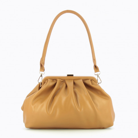 Camel faux leather pleated bag