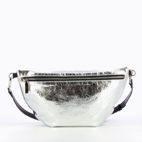 oversized fanny bag silver wrinkled leather effect Vanessa Wu silver zip closure and braided shoulder strap