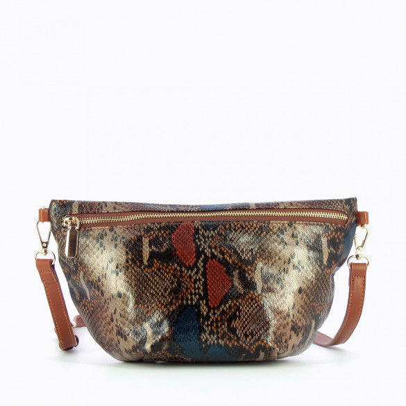 oversized fanny bag multicolored animal print snakeskin with shoulder strap Vanessa Wu