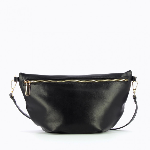 oversized fanny bag black smooth faux leather with gold zip closure Vanessa Wu braided shoulder strap