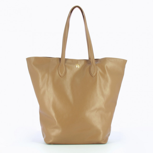 Oversized shopper style bag woman Vanessa Wu in camel faux leather with inside pockets